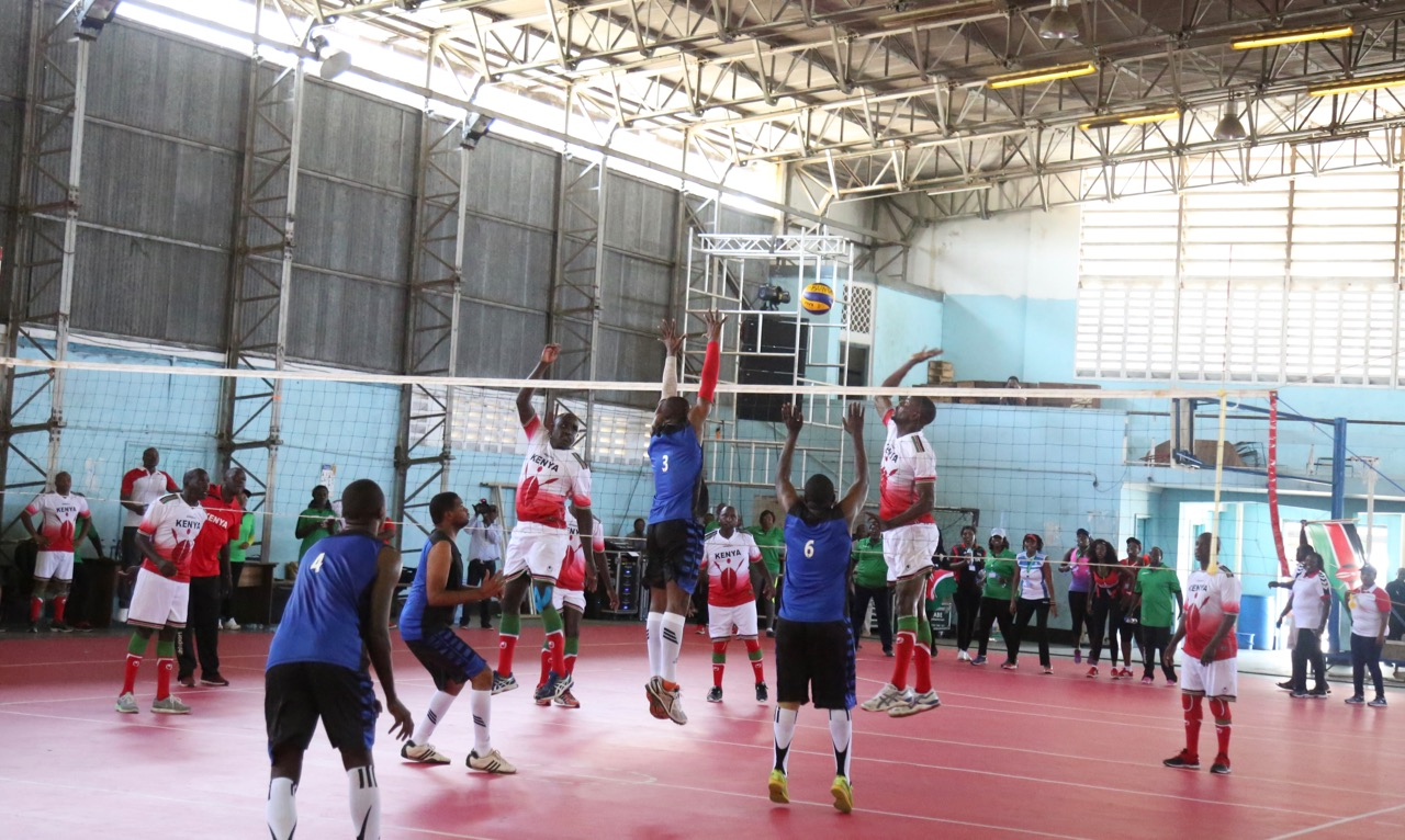 Action in the match between Parliament of Tanzania and Parliament of Kenya. The Parliament of Kenya won by 3 Sets to One set