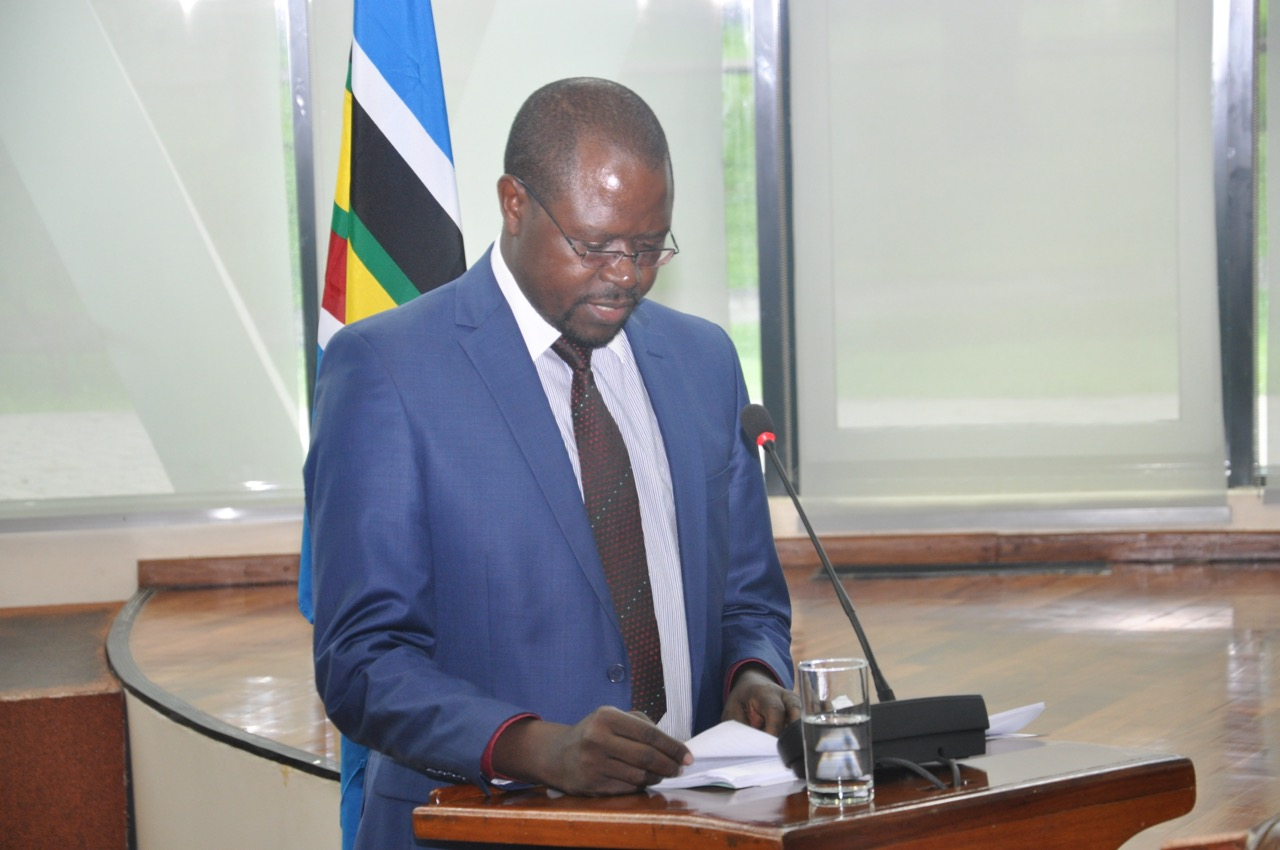 Minister for State, EAC Affairs, Uganda, Hon Julius Maganda reads the EAC Budget Speech earlier today.  The Chair of the Council of Ministers tabled to the EALA the USD 110 M Budget for the Financial year 2017/18
