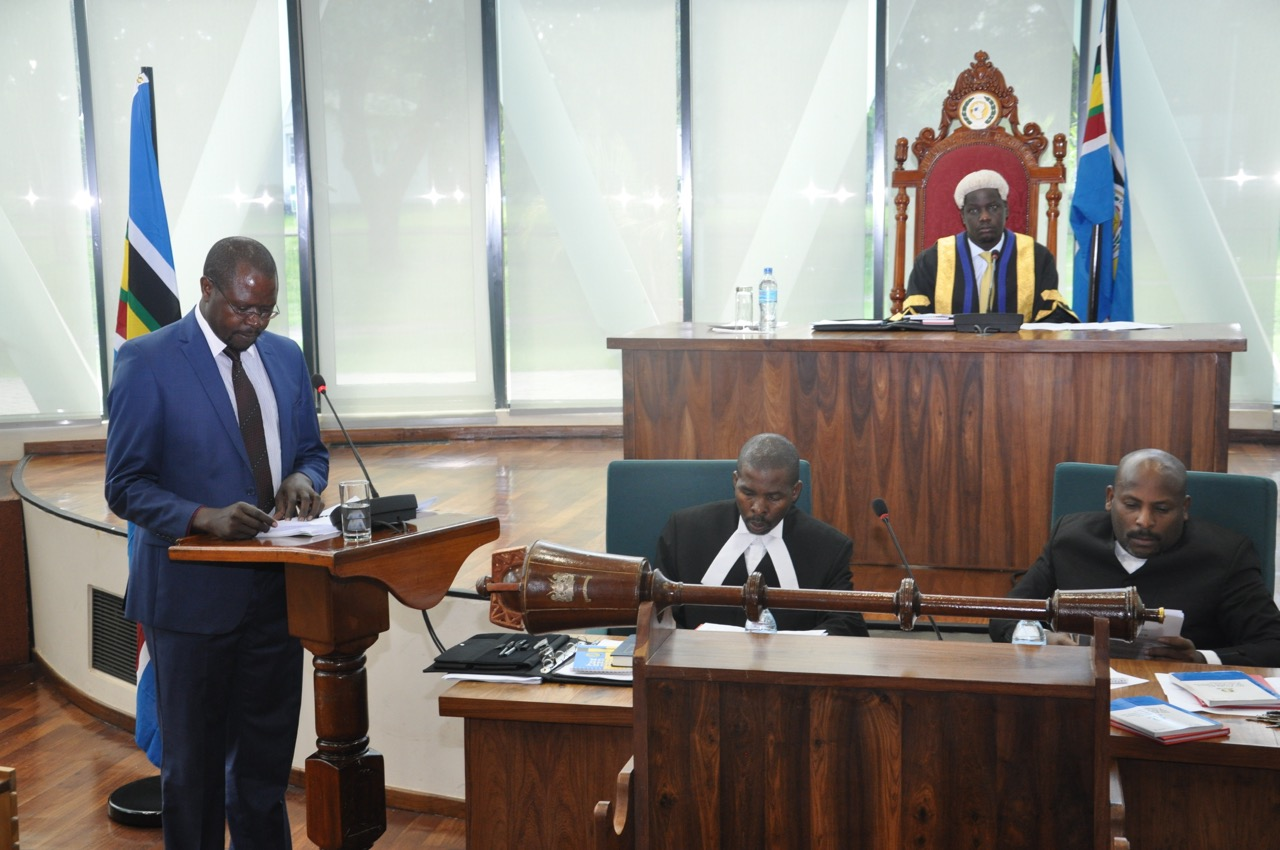 The Minister for State , EAC Affairs, Hon Julius Maganda presents the EAC Budget Speech before the EALA Speaker and an attentive House