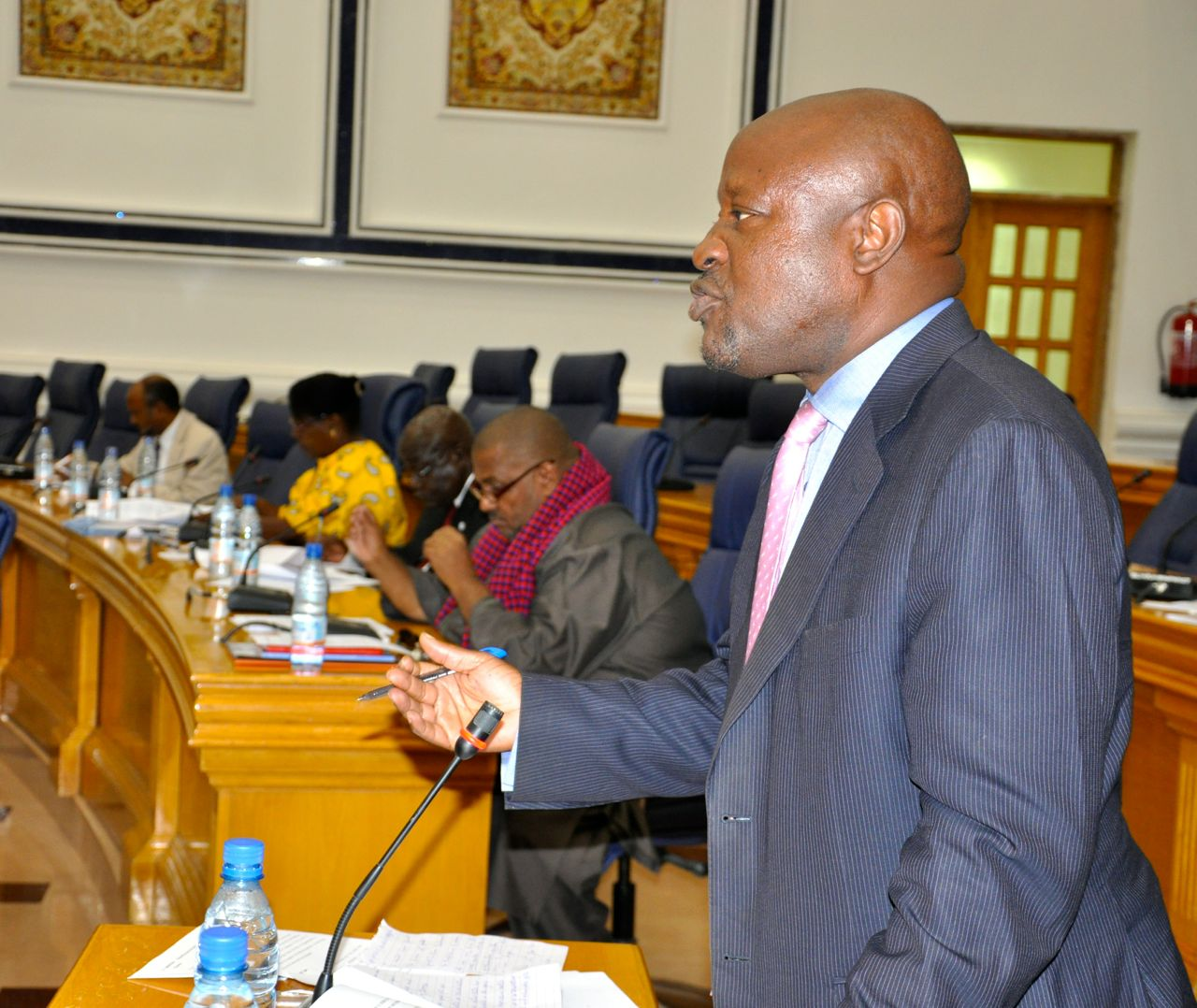 Hon MIke Kennedy Sebalu makes his justification, moments after reading the Resolution to the House