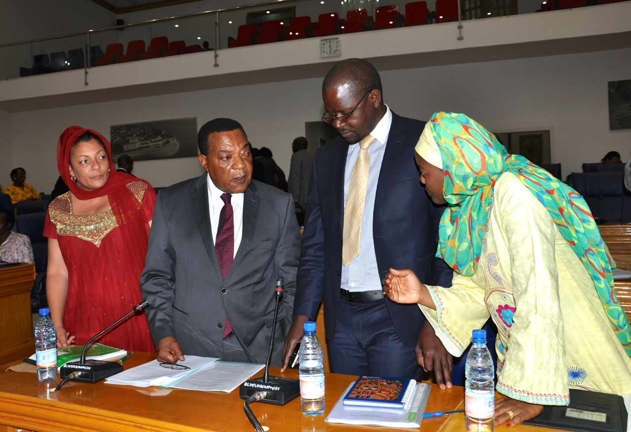 CONSULTATION: From left, Hon Shyrose Bhanji, Hon Dr Augustine Mahiga, Minister for Foreign Affairs and EAC Co-operation, United Republic of Tanzania, Hon Maganda Julius Wandera, Minister for State for EAC Affairs, Uganda and Hon Leontine Nzeyimana, Minist