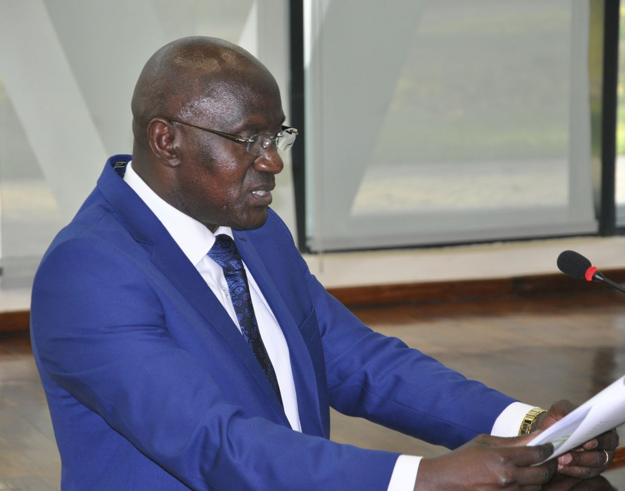 The Chair of the Committee on Accounts, Hon Jeremie Ngendakumana presents the report of the Committee on the Audited Accounts for the period ended 30th June 2015 to the House