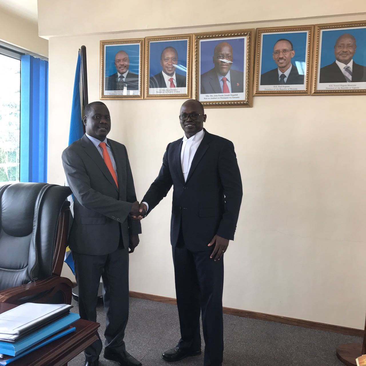 Courtesy call on the Speaker of EALA,Rt Hon Daniel F. Kidega by Adv. Francis Gimara ,ULS President