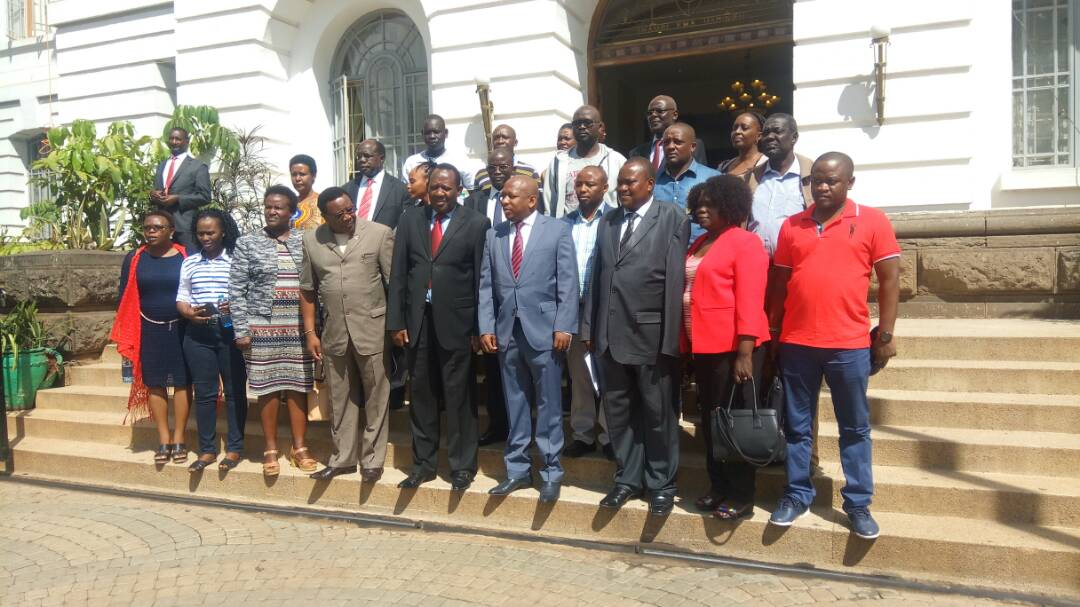 H.E Mike Sonko,Nairobi Governor posing with EALA Members in Nairobi