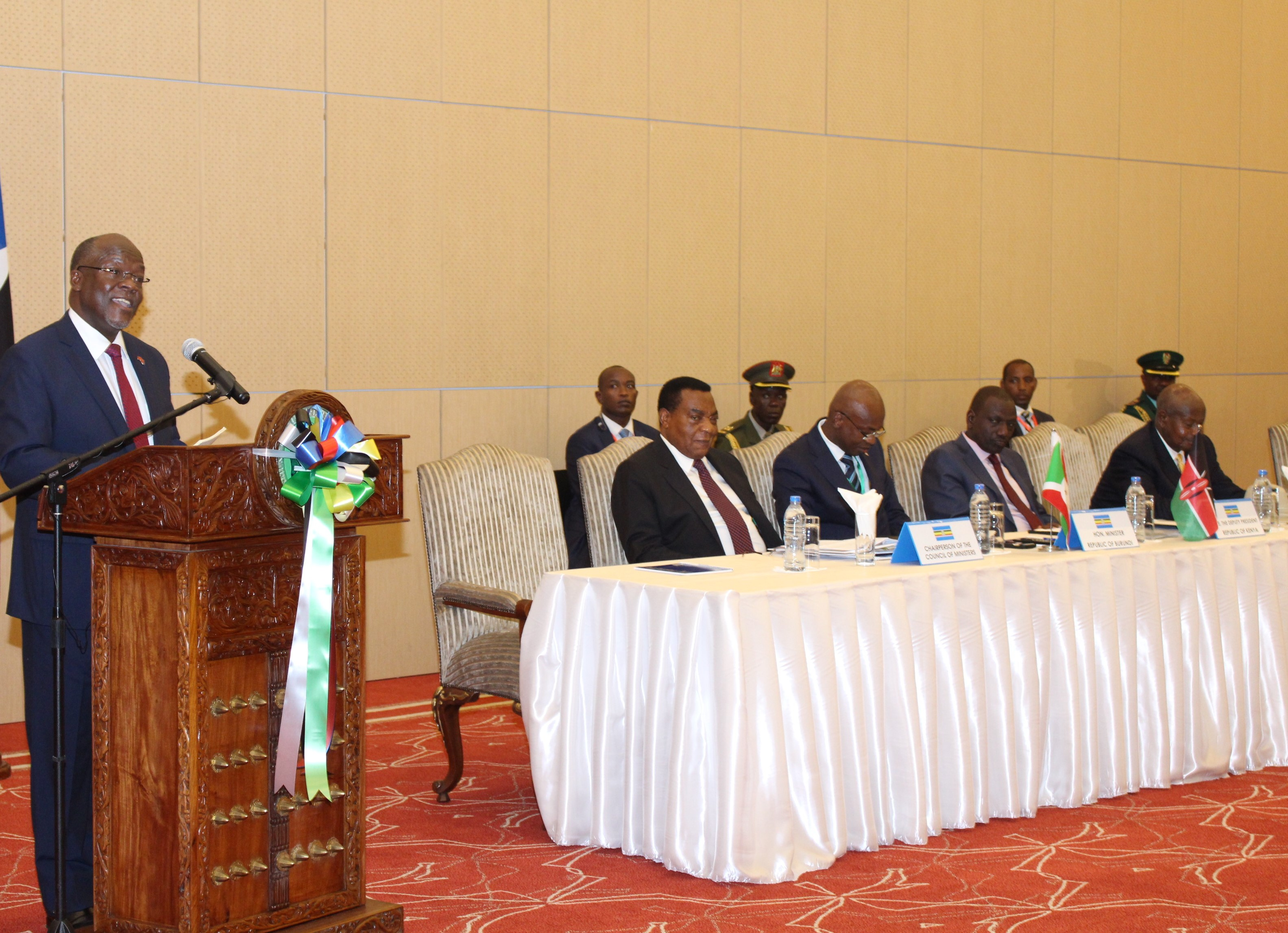 The President of the United Republic of Tanzania and Chairperson of the Summit of EAC Heads of State, H.E. John Pombe Joseph Magufuli addresses the recent Summit. H.E. John Pombe Joseph Magufuli addressed the Summit in Kiswahili