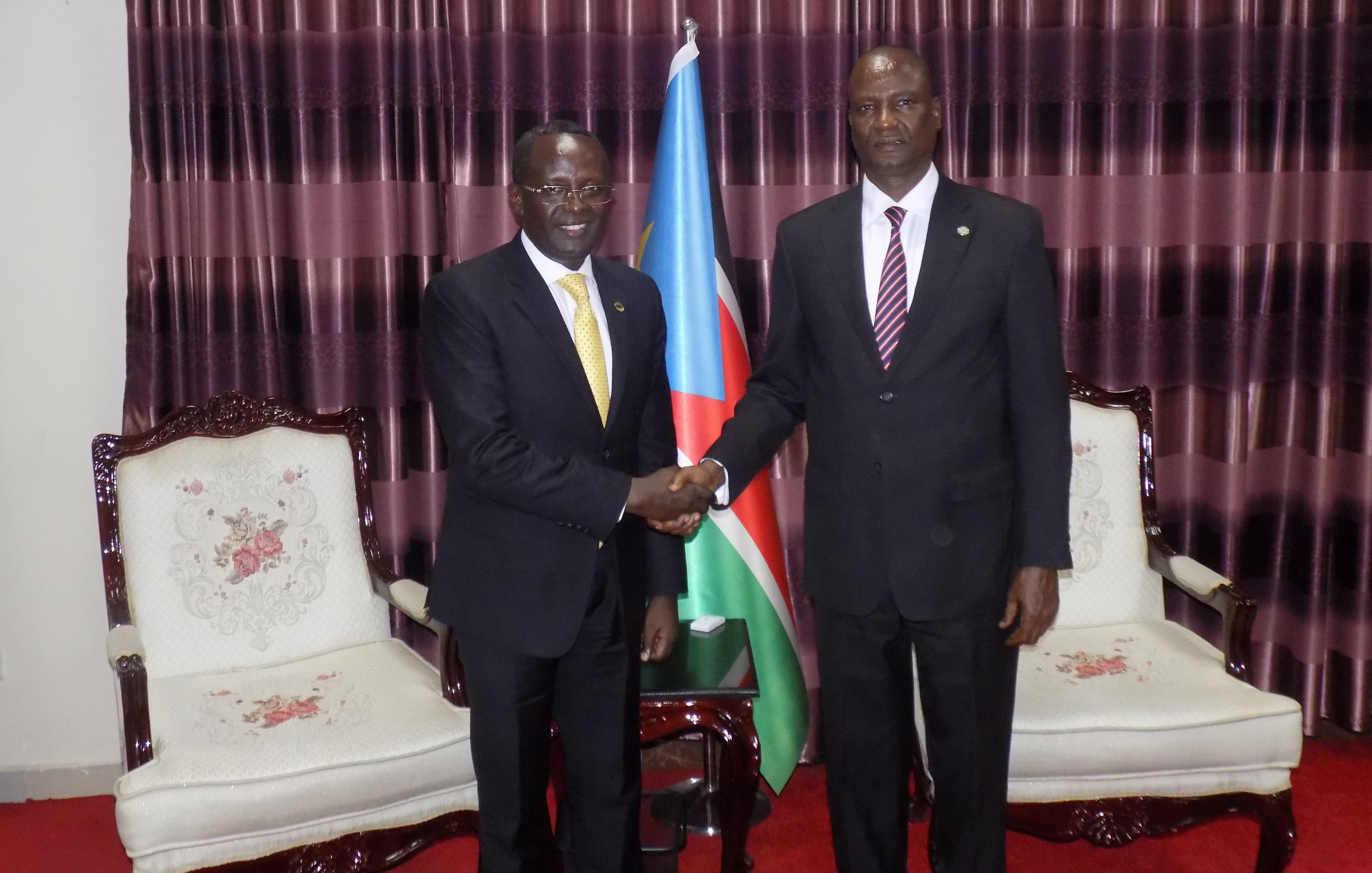 1st Vice President of the Republic of South Sudan, Lt. Gen Taban DEng Gai shakes hands with the EALA Speaker, Rt Hon Martin Ngoga at the Vice President's Office earlier today