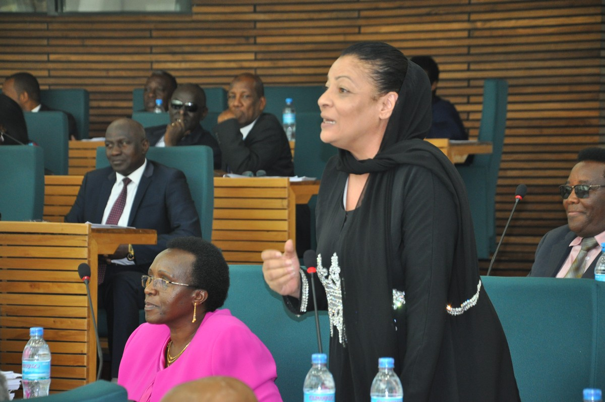 Hon Shyrose Bhanji gestures as she speaks to a Motion yesterday