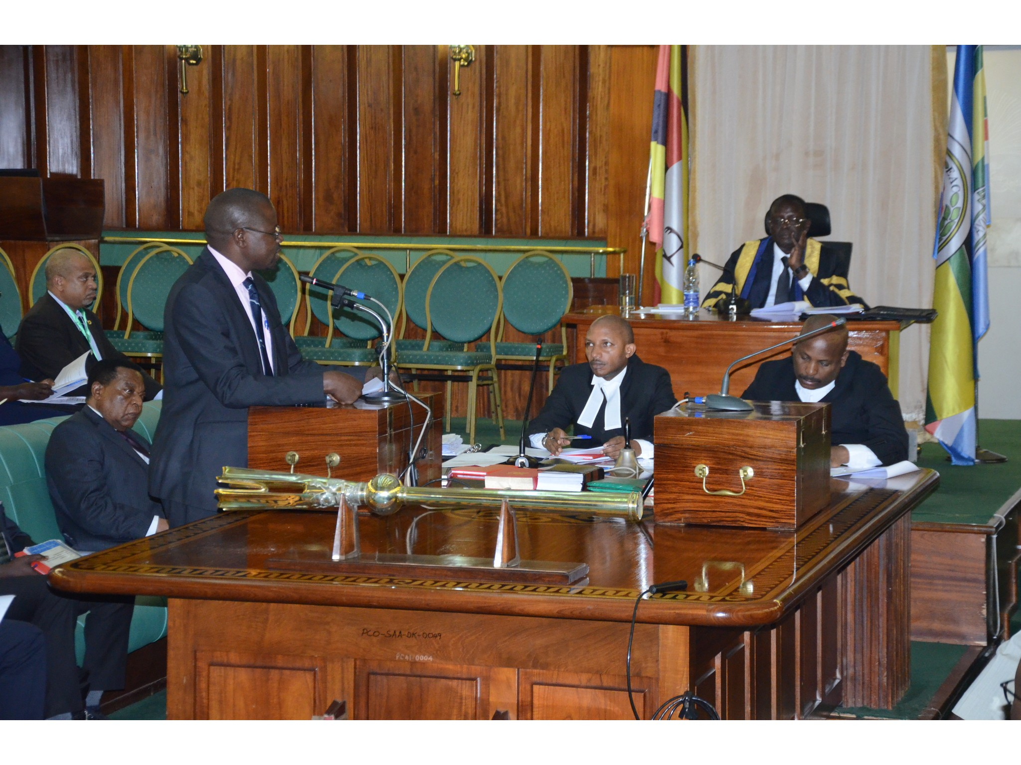 The Chair of Council of Ministers and Minister for State, EAC Affairs, Uganda, Hon Julius Wandera Maganda on the floor of the House